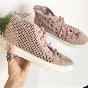 1 State Perforated Blush Pink High-Top Sneakers 9